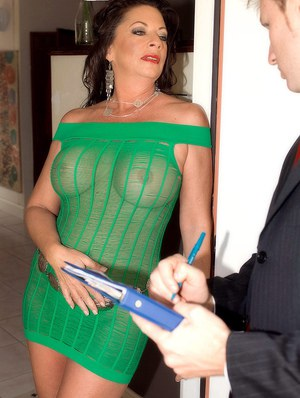 image Mature mom with big tits strips on webcam